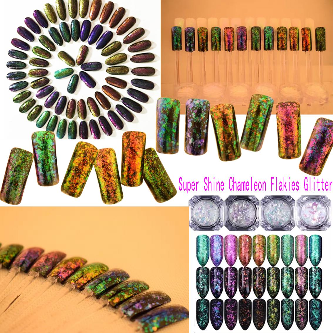 2017 Newly Nail Irregular Colorful Chameleon Flakes Glitter