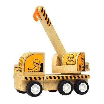 Freewheeling Construction Wooden Toy Car Crane