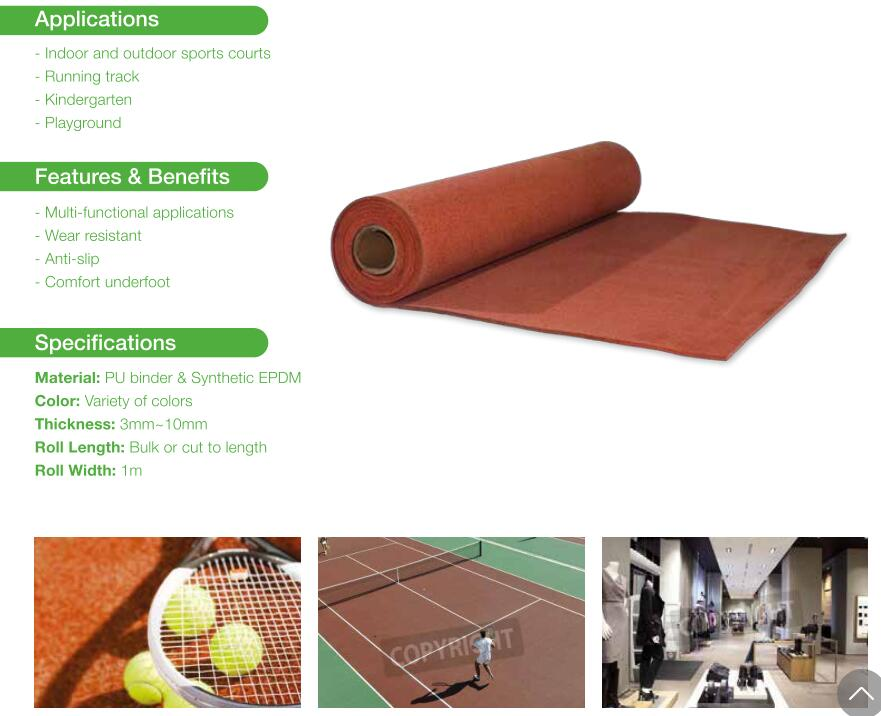 EPDM roller for sports surface