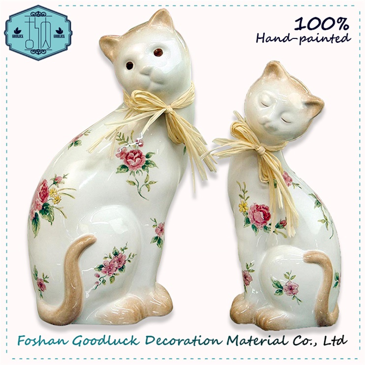Exquisite Hand Painted Ceramic White Pussy Modern Designer Home Decor