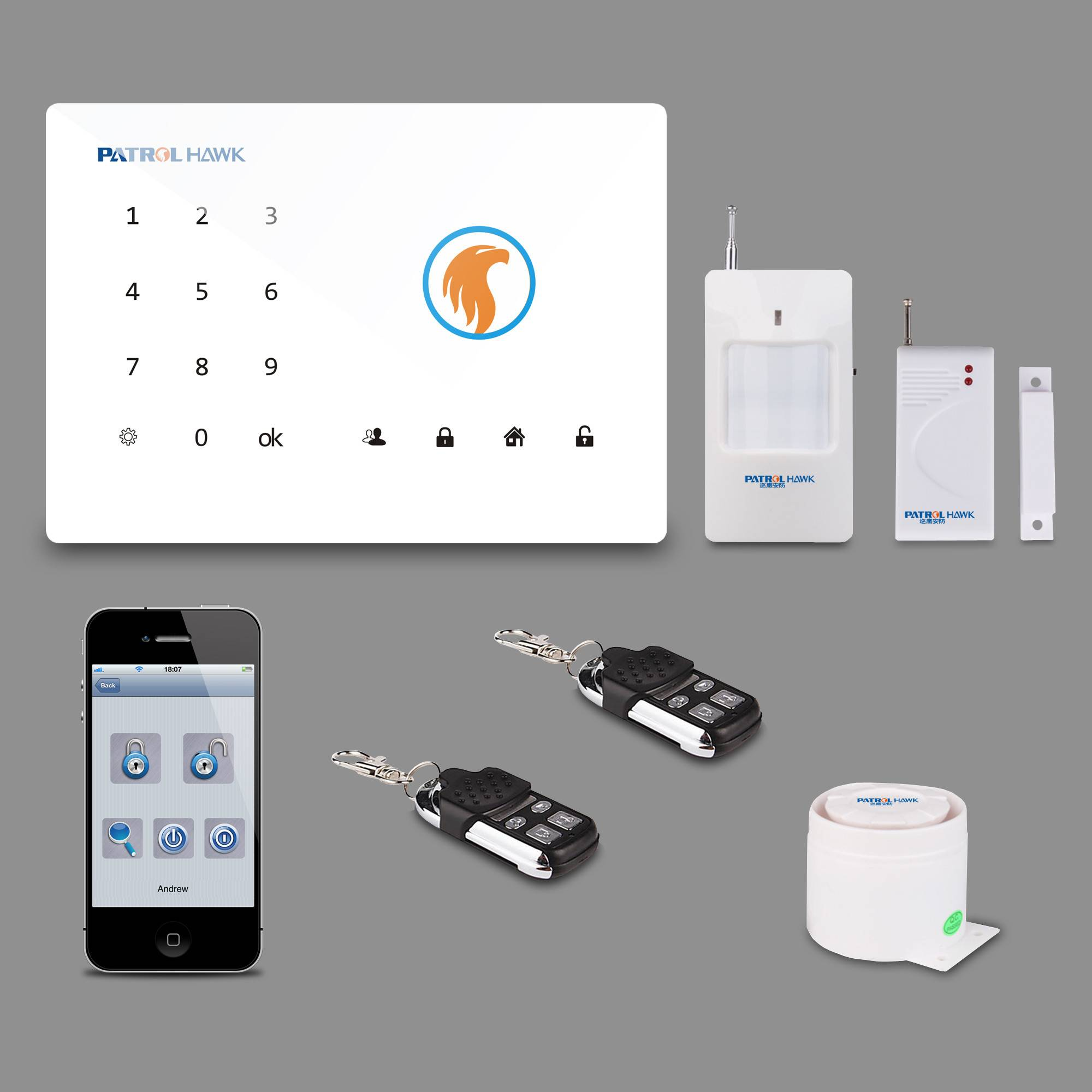 Amazing Functions! Patrol Hawk Wireless GSM Home/Business Touch Keypad LCD screen Alarm System PH-G2