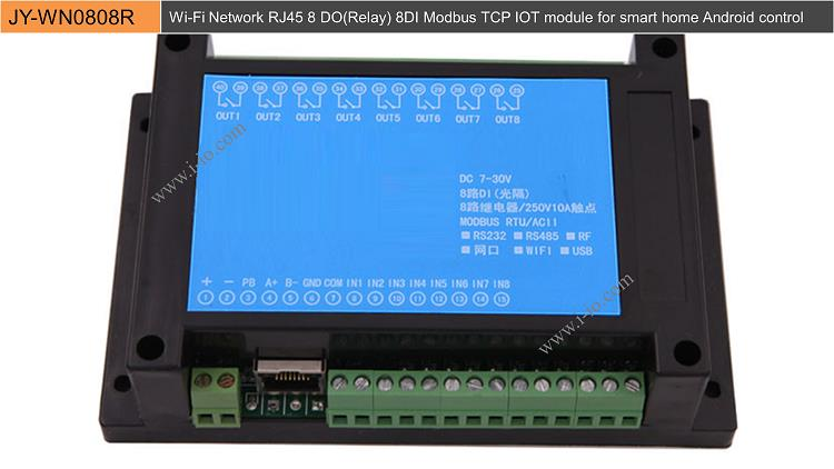 Wi-Fi Network RJ45 8 DO(Relay) 8DI Modbus TCP IOT module for smart home Android control
