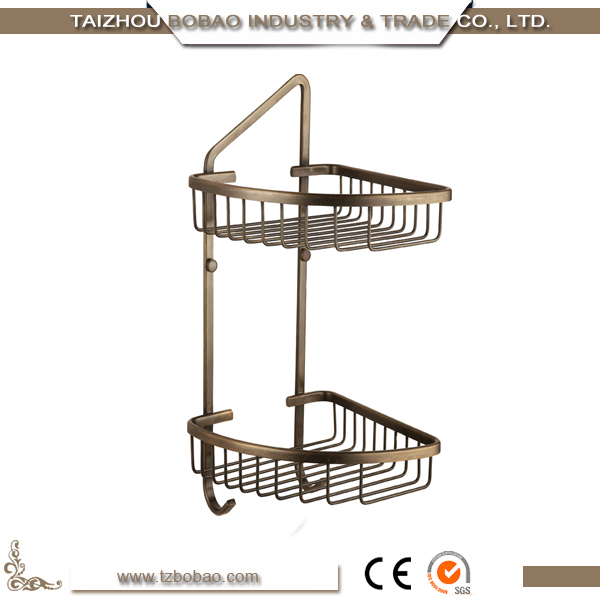 2017 Gold Sanitary Accessories Brass Antique Hanging Bathroom Shelves Basket Polished Treatment Euro