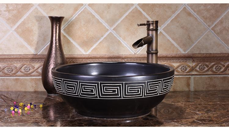 Kitchen Luxury Vanity Modern Artistic Ceramic Wash Bowl Bathroom Round Lavabo High-end Classical