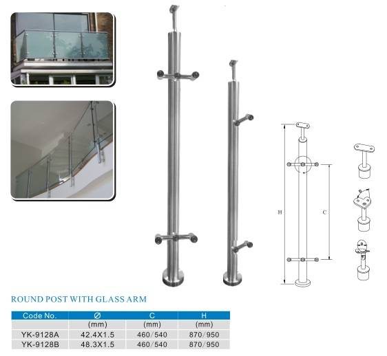 stainless steel stair balustrade with glass arm