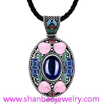 Silver Costume Fashion Jewelry China Style Corumdum Gemstone Women Woman Ladies Party Necklaces