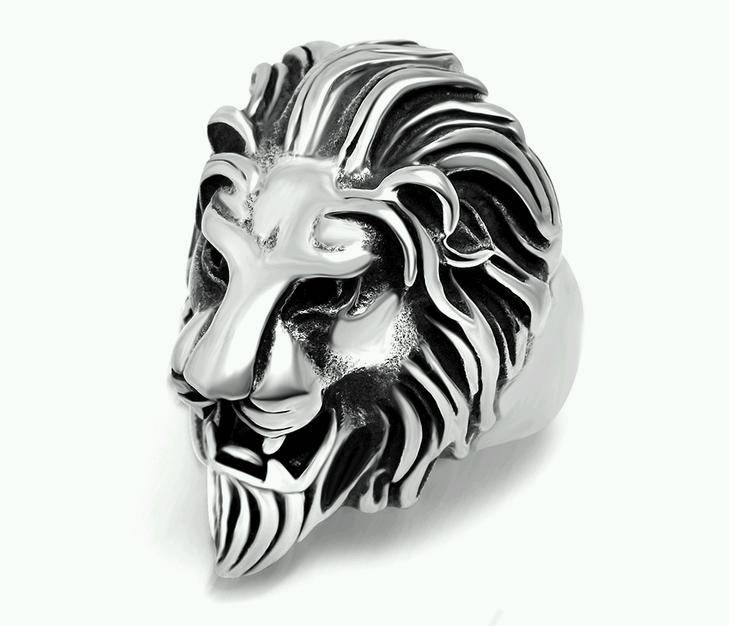 Stainless Steel Lion Head Custom Biker Rings