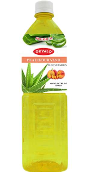 Peach Aloe Vera Juice with Pulp Okeyfood in 1.5L Bottle