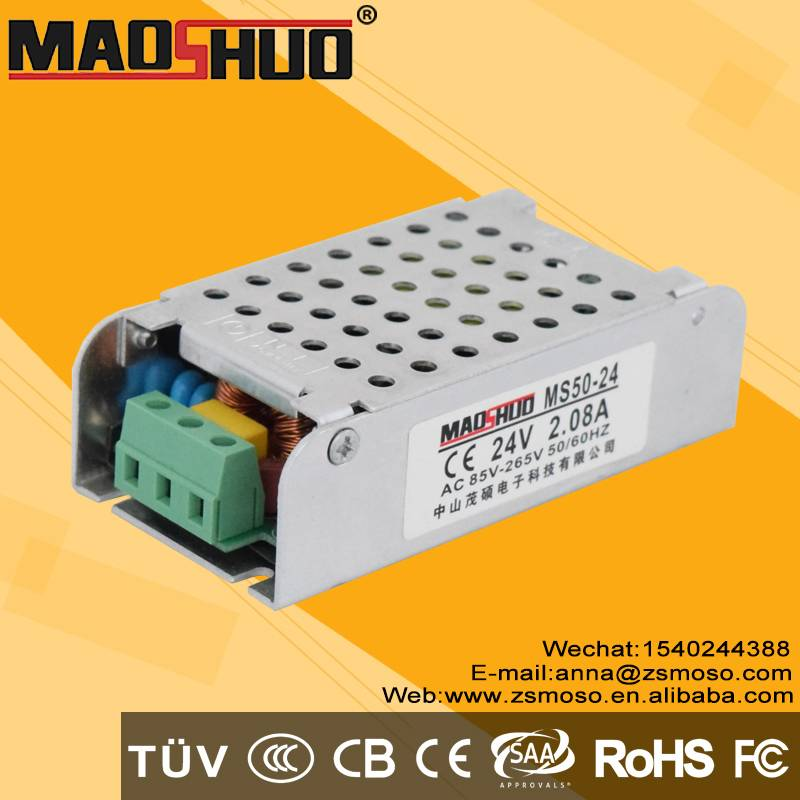 No flicker no niose 50w triac dimmable led driver 24v non waterproof led power supply with 2 years w