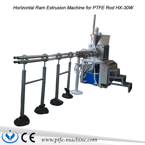 Horizontal ram extrusion machine for PTFE rod or UHMW-PE