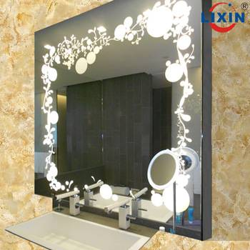 Fashional Etching LED illuminated bathrom mirror for hotel