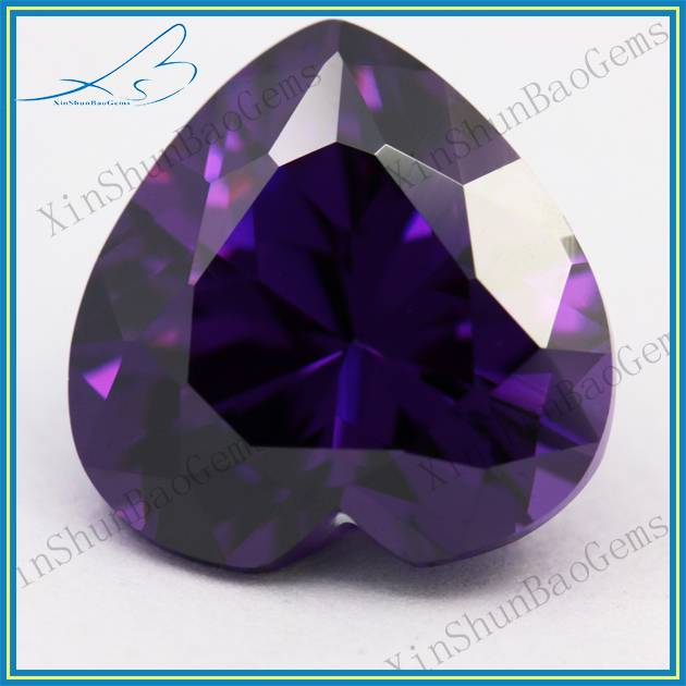 Factory Direct Sale Heart Shape Purplish red Loose CZ Imitation Diamond