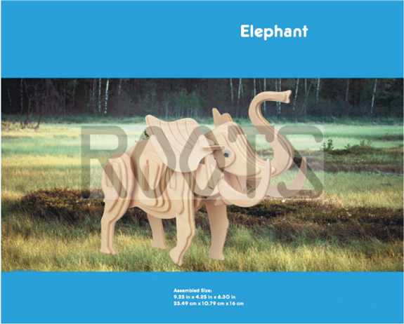 Elephant-3D wooden puzzles, wooden construction kit,3d wooden models, 3d puzzle