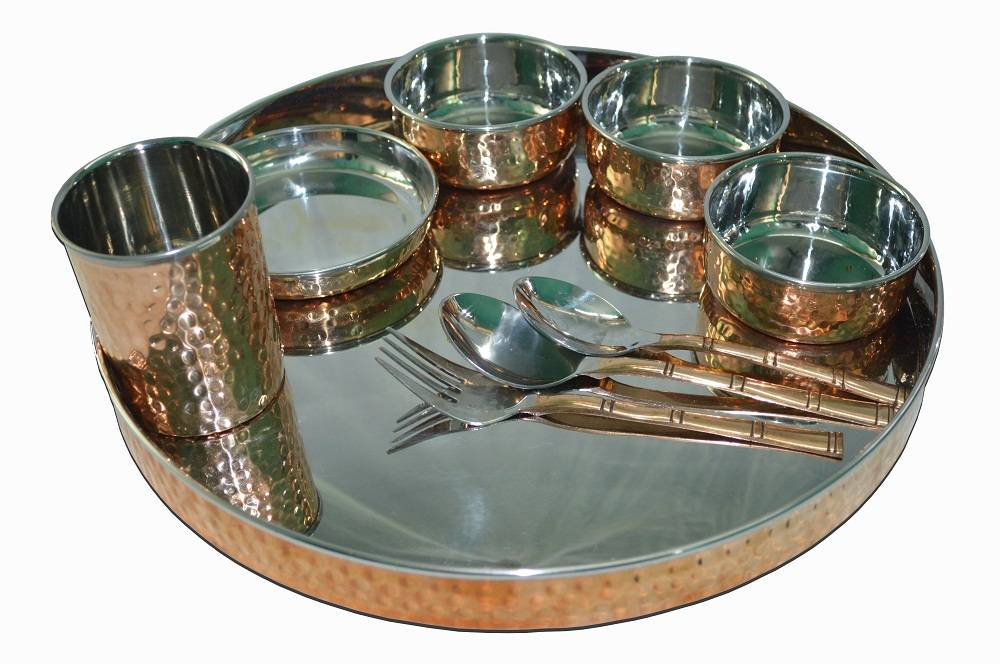 Raghav India 100% Genuine Copper Finish with Stainless Steel inside Dinner + 3 spoon Set