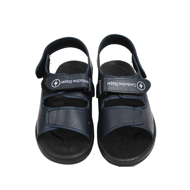 Black PU Leather Anti Slip Sole Wear-resistant Antistatic Sandals