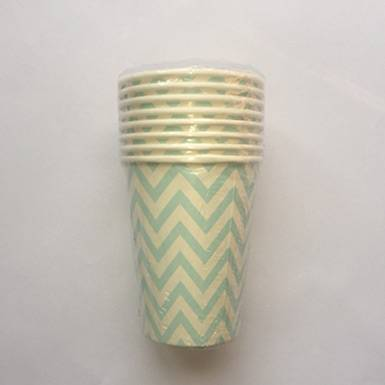 Wholesale Custom Printed Party Baby Blue Chevron Stripe Paper Cups