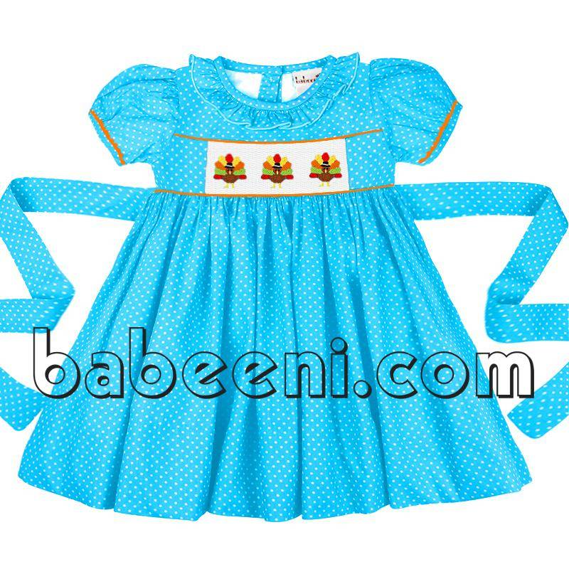 Adorable pea cock hand smocked girl dress for Thanksgiving - DR 2294