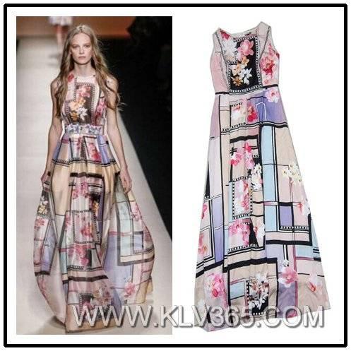 Women floral Printed Dress Elegant Evening Dress