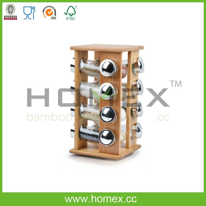360 Rotatable Corking Bamboo Spice Jar And Spice Rack/HOMEX-FSC/FDA/SGS/LFGB/BSCI