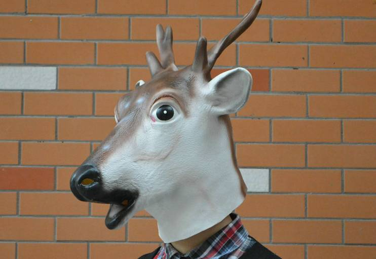 Youtumall 2014 Black Deluxe Latex Sika Deer Mask
