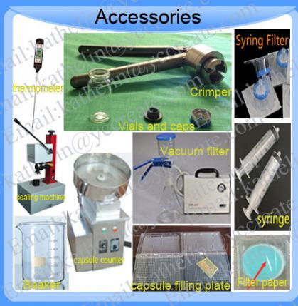 Tool for steroids-Vials,crimping tools,Syring filters,Vacuum Filter,capsule filling plate,beaker,cap