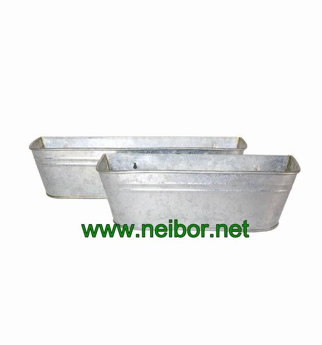 galvanized flower pot window box metal planter