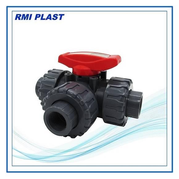 PVC three way trun union ball valve socket end, DIN, ANSI, JIS, CNS, BSP, NPT