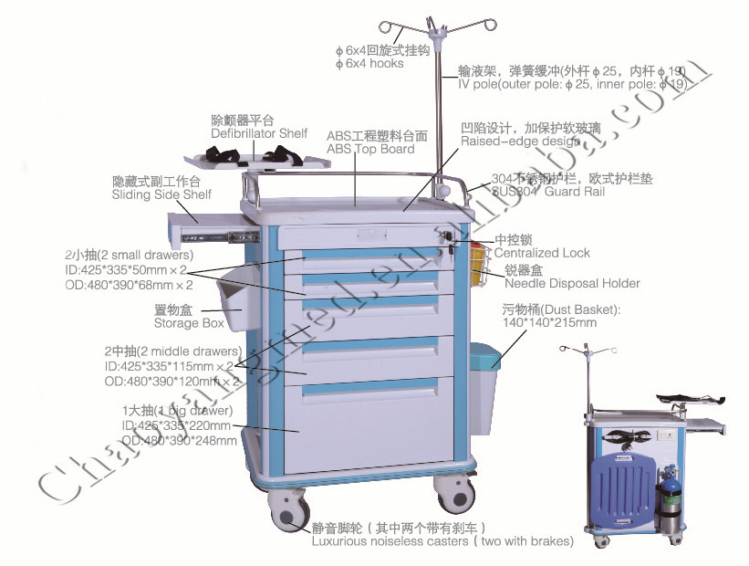 ABS Emergency hospital trolley CY-D403