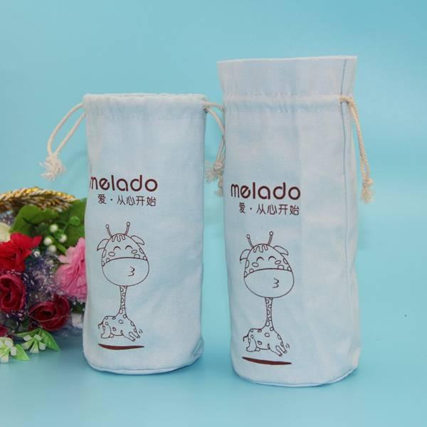 wholesale white color drawstring cotton bottle carrier