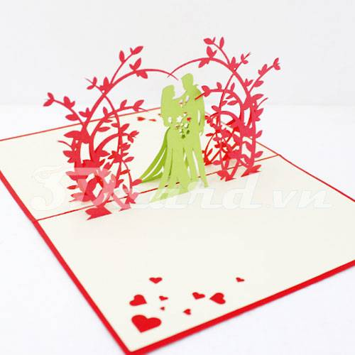 Wedding 4-Pop up-Kirigami-Laser cut-Paper cutting-Handmade-wedding invitation-3D card
