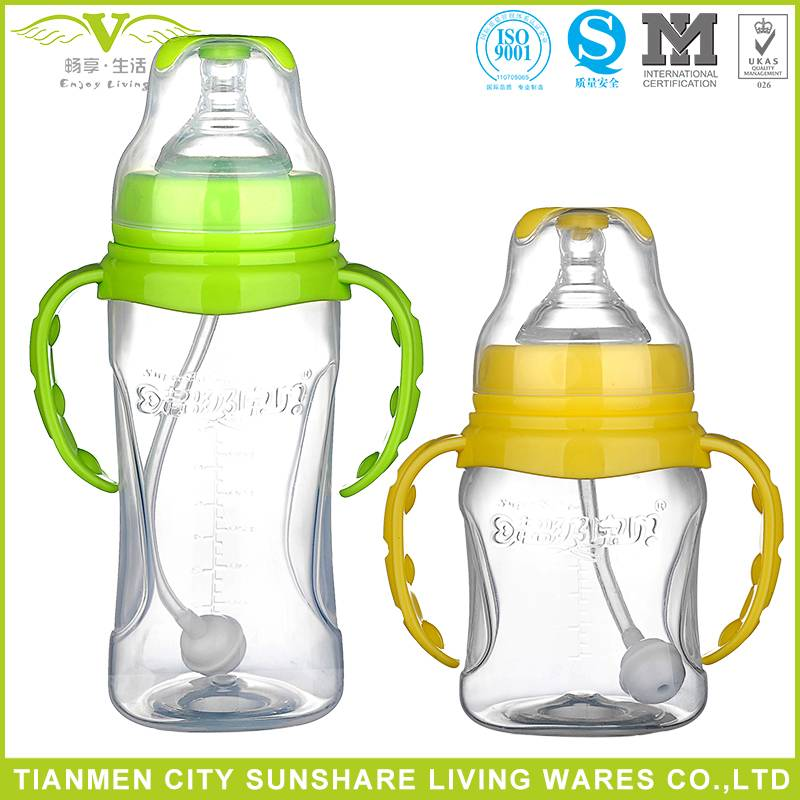 Factory Supplier Wide-neck Cross Hole Nipple PP Material Baby Feeding Bottles With Different Color H