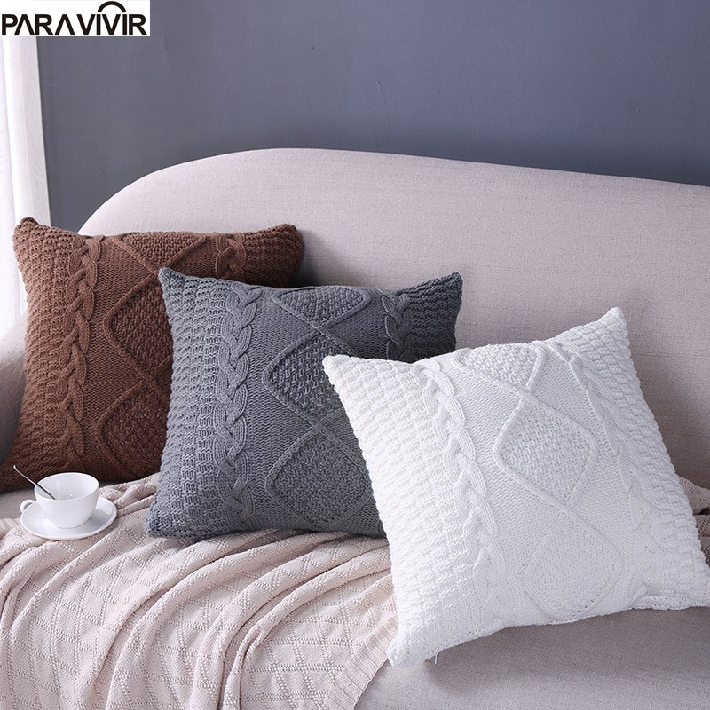 Solid Cushion Cover Warm Knitted Decorative Pillows Case Soft 1818 inches Sofa Throw Pillow Cover