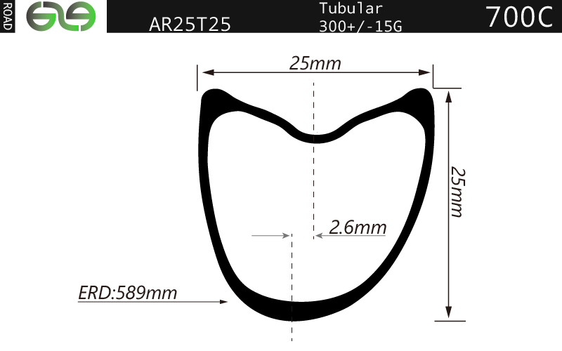 AR25T25 Asymmetrical 700C tubular Carbon rim 25mm deep 25mm wide super light for road bicycle