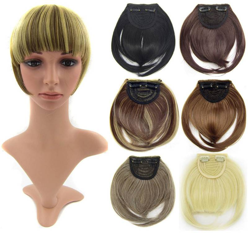 Front synthetic hair bang extension