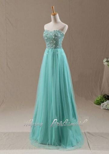 Tulle Prom Dress, Long Sequin Beaded Prom Dress Evening Dress