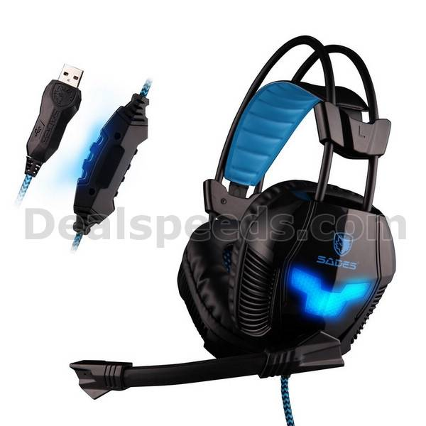Sades A30 Over-Ear Stereo Klored Supper Durable Wire USB Gaming Headphone Headset with Mic