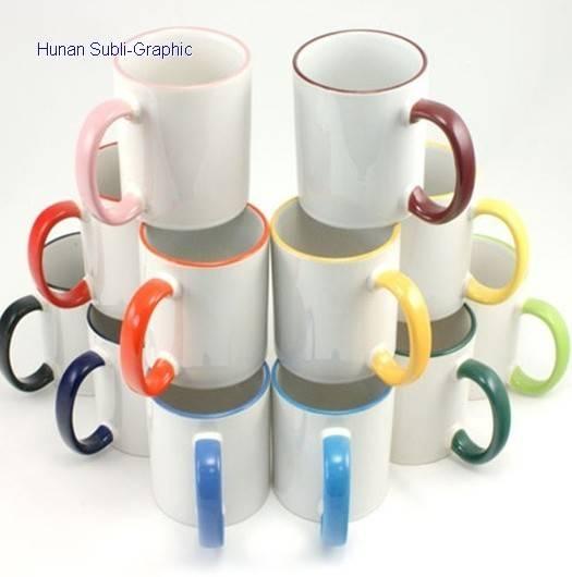 11oz sublimation color rim&handle mug