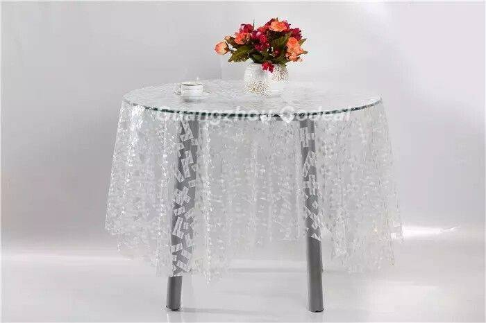 New 3D EVA transparent hotel table cloth waterproof and anti-dust table cover for coffee shop low MO