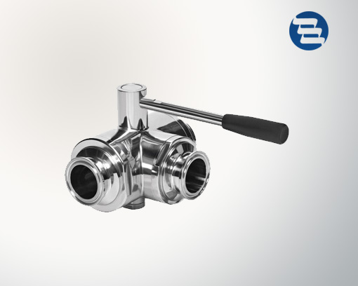Sanitary Stainless Steel Welded Threaded Tri Clamped End Three Way Tee Ball Valve