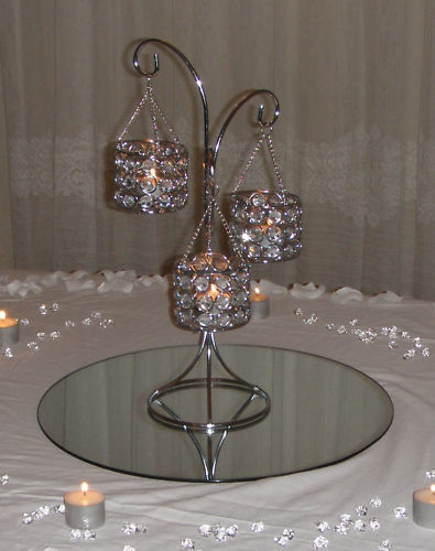 3 arms silver crystal candelabras centerpiece candle holder