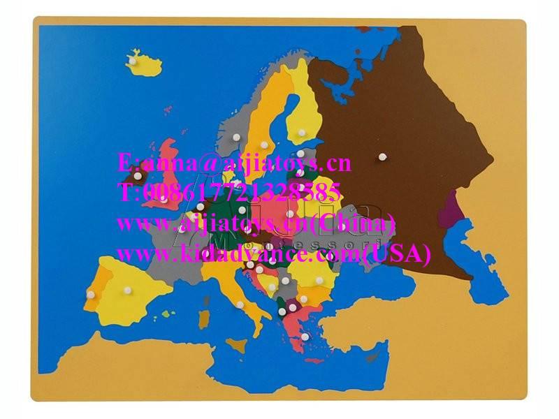 montessori Puzzle Map of Europe,montessori materials