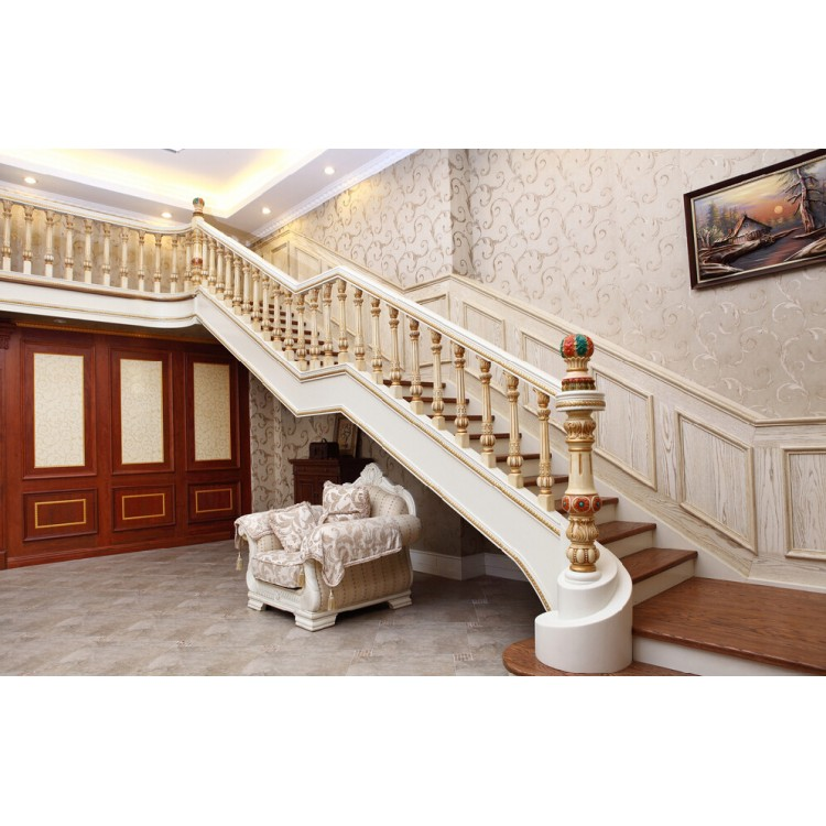 Luxury solid wood straight staircase SC013