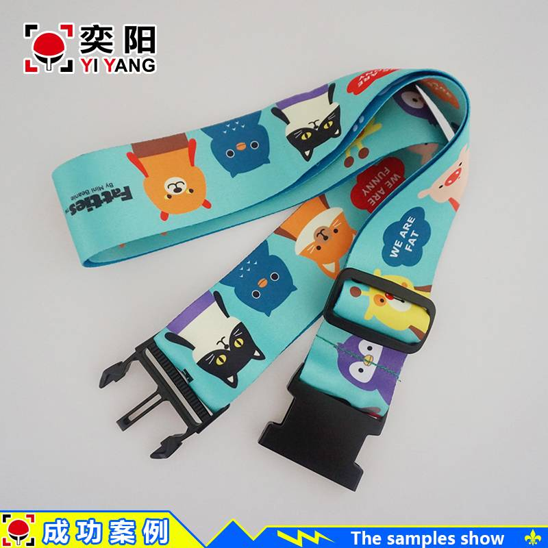 Cheap custom polyester print luggage belt & luggage strap