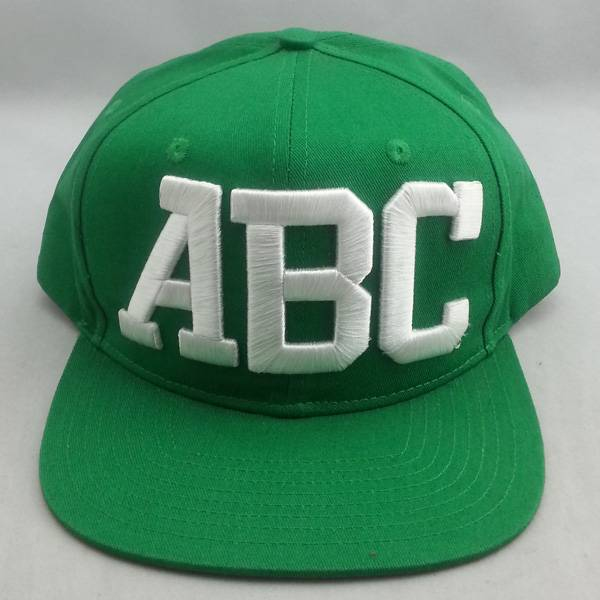 ABC 3D embroidery on front panel flat bill snapback cap