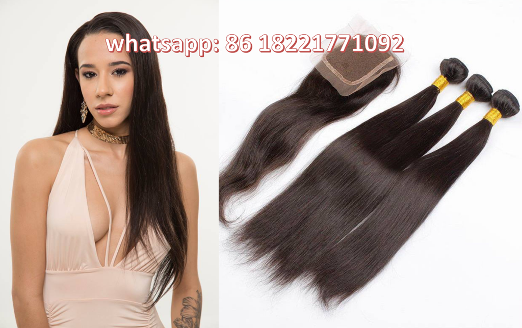 Unprocessed 100% human brazilian straight hair with closures peruvian hair extensions natural black