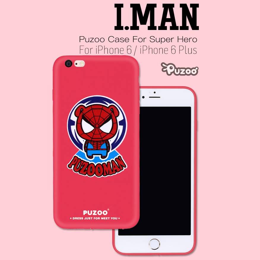 PUZOO IMAN Cartoon Surper Hero TPU Soft Case Cover for Apple iPhone